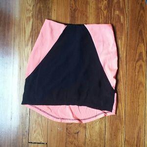 Color block high low mini skirt
